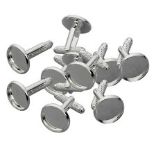 10pcs Silver Plated Blank Cuff Link Settings Base Cabochon Jewelry Findings