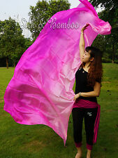 "pink fading 3yd*45"" belly dance silk veil+bag,light 5mm paj silk, edges rolled"