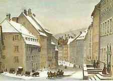 "LA CHAUX DE FONDS. ""Rue des Juifs"" im Winter, 1840, mit Pferdeschlitten"