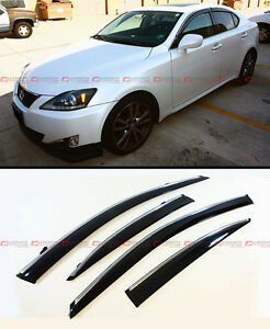 FOR 2006-2013 LEXUS IS250 IS350 IS-F VIP STYLE CLIP ON SMOKE TINTED WINDOW VISOR