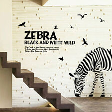Huge Removable Zebra Art Wall Decal Decor Room Stickers Vinyl Paper Home Mural