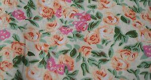 "Quilt Fabric Orange Floral Print 12 Yards Apparel Dress Bandanna 45"" W #9965E"