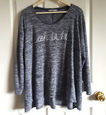 """Ooh La La"" Top Plus Size Uk 24 Eu 52 Marl Long Sleeve Dip Hem Cute Light Jumper"