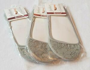 3xDamen Socken Set Spitze Grau Unisex Gr. 36-40 Polyester Trend Sommer Füßlinge