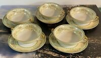 Meito China Hand Painted Japan 5 Bowls & Saucers Floral MEI 1033 PRISTINE