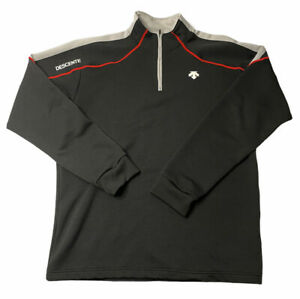 Descente Mens XL Long Sleeve Bike Cycling Black White 1/4 Zip Pullover- Nice!!