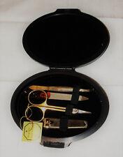 NEU vergoldetes Nessesair, Nagelpflegeset, Reisenessesair im Etui Nagelknipser