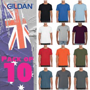 --Gildan Shirt 64000 pack of 10 Soft Style Adult Tee Shirt 153 GSM OZ size