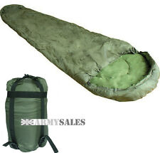 Olive Green 3 Season Nylon Shell Military Sleeping Bag with Compression Sack