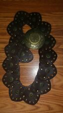 """3 1/2"""" 90 mm Wide Ladies Wide Boho Disc Concho Leather Belt, Brown Size 41"""
