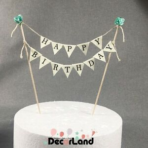 Happy Birthday Vintage Style Mint Green Mini Bunting Flag Cake Topper