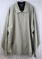 "Men's Golf Ashworth ""Harrington"" Full Zip Tan Beige Black Trim Jacket Coat XXL"