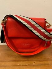 bnwt ladies ted baker red leather and stripe strap shoulder cross body bag