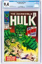 Hulk #102 CGC 9.4 Marvel 1968 1st Issue! Avengers! White Pages! K4 124 cm
