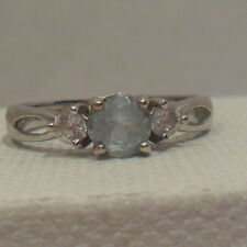 Vintage Antique Estate~Blue Topaz & Clear Gems Sterling Silver Filigree Ring 8