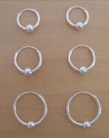 925 Sterling Silver 3 Pairs Sleeper HOOP Earrings with Moving Ball 10,12 & 14 mm