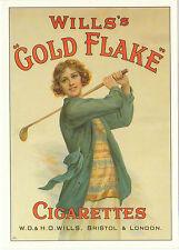 ROBERT  OPIE  ADVERTISING  POSTCARD  -  GOLF  /  WILLS  GOLD  FLAKE  CIGARETTES