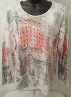 Chico's Womens Multi Color Holiday Building Shirt Top Blouse Size 1 M OR 2 L