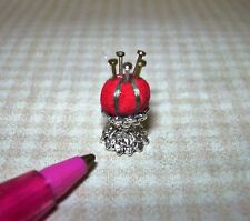 Miniature Fancy Pin Cushion w/Pins on Silver Stand: DOLLHOUSE Sewing Room 1/12