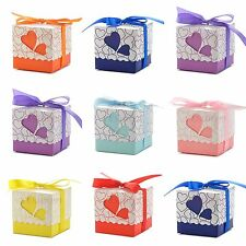 50-200pcs  Heart-shaped Window Wedding Party Favor Gift Box Folding Candy Bags