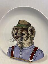 "West Elm by Rachel Kozlowski Dapper Animal Plate Badger Anthropomorphic 8.5"""