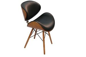 Dining Chair Designer Faux Black Leather Solid Wood Walnut Finish