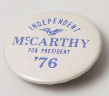 Gene McCarthy 1976 Presidential Campaign Button Pin Independent Rare