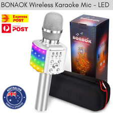 BONAOK Wireless Bluetooth Karaoke Microphone LED 4-in-1 Portable Android/iPhone