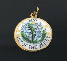 Vintage May Lily of the Valley Enamel & 14K Yellow Gold Round Pendant