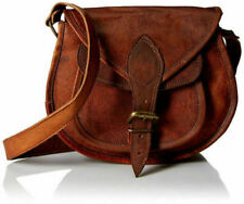 Vintage Saddle Bag Genuine Goat Leather Brown Messenger Shoulder Cross-body Bag