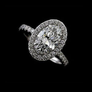 Cut Down Micro Pave Diamond Oval Halo Modern Style Engagement Ring Platinum 950