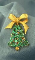 Vintage Mylu Bow & Dangling Enamel Holly Rhinestone Christmas Bell Pin Brooch