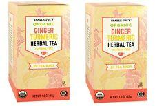 Trader Joe's Organic Ginger Turmeric Herbal Tea, 2 Boxes, 20 Tea Bag Per Box