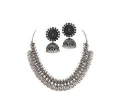 Indian Tribal Ethnic Coin Silver Oxidized Choker Fashion Jewelry Necklace Set