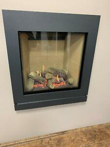 Gazco Riva 2 hole in wall gas fire with Iridium designio 2 frame