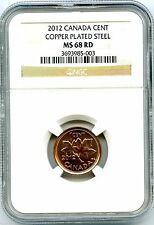 2012 CANADA CENT NGC MS68 RD MAGNETIC STEEL HIGH GRADE LAST YEAR OF ISSUE RARE!!