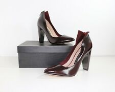 Women's FRENCH CONNECTION MYKA High Heel Burgundy 100% Leather Shoes UK4 EU37
