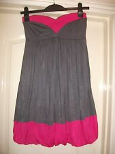 MISS SELFRIDGE GREY PINK COLOURBLOCK BANDEAU SWEETHEART NECK BUBBLE HEM DRESS -8
