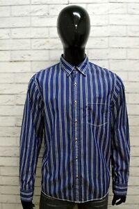 Ralph Lauren Camicia a Righe Blu Uomo Taglia XL Camicetta Maglia T-Shirt Man