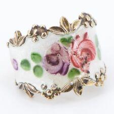 Sterling Silver - ESPO Guilloche Enamel Flower Ring Size 6 - 8.2g