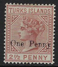TURKS ISLANDS: 1889 One Penny on 2 1/2d red-brown SG 61 mint