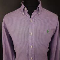 Ralph Lauren Mens Casual Shirt LARGE Long Sleeve Purple Custom Fit Check Cotton