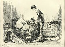 VINTAGE 1912 PUNCH Illustration: SUFFRAGETTE CARTOON - A Little Boy & Her Mummy