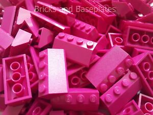 LEGO 50 x MAGENTA Roof Tiles 2 x 4 Pin Slope 45° Item Number 3037# Brand New