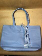 Macy's Large Shopper Tote Bag Blue Faux Saffiano Leather NEW