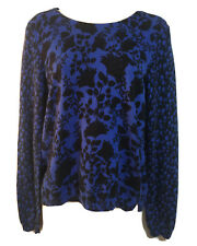 LAURA ASHLEY Ladies UK 10 S Jumper Sweater Knit Pullover Top Floral Blue Autumn