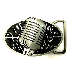 "Belt Buckle Metal Mens ""Music Microphone"" Hip Hop Fashion Vintage"