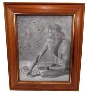 Australian Urban Art Charcoal Pencil Drawing Aboriginal Man Framed 32 x 27 cm