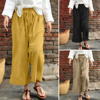 UK Womens Elastic Waist Tie Wide Leg Pants Pull-on Casual Loose Palazzo Trousers