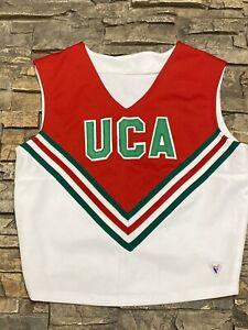 VARSITY Cheerleader Uniform Top UCA White Red Green Cheer USA Made Sz 36